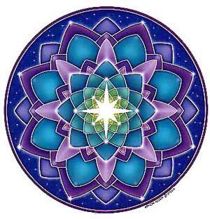 Una estrella blanca de 8 puntas Llama la atención hacia el centro de este Mandala aturdidor cósmico  las sombras de azul, verde, turquesa, violeta y púrpura. Material gráfico original por Bryon Allen.