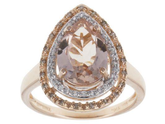 2.60ctw Cor-de-rosa Morganite(Tm),White Zircon And Champagne Diamond A