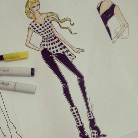 Fashion illustration for plaid material