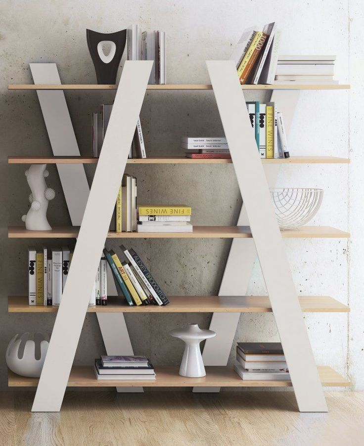 DESTOCKAGE - TemaHome WIND  bibliotheque meuble étagère bois blanc et oak design