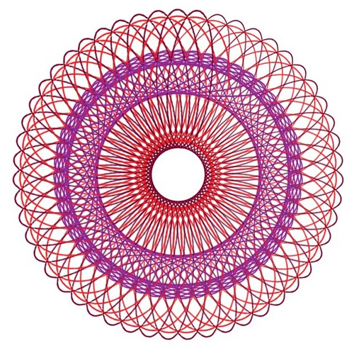 Spirograph--an example of what we could draw if we kept the little pins that held the paper from slipping out so the paper moved!