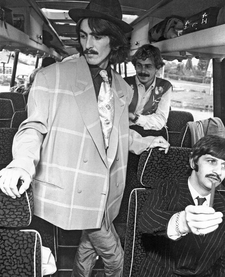 George Harrison and Ringo Starr aboard the Magical Mystery Tour bus, 1967.