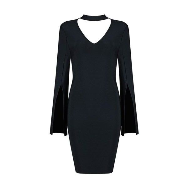 REBECCA LONG SLEEVE BLACK BANDAGE DRESS by Funky Frocks ❤ liked on Polyvore featuring dresses, longsleeve dress, long sleeve bandage dress, long sleeve dress and bandage dress