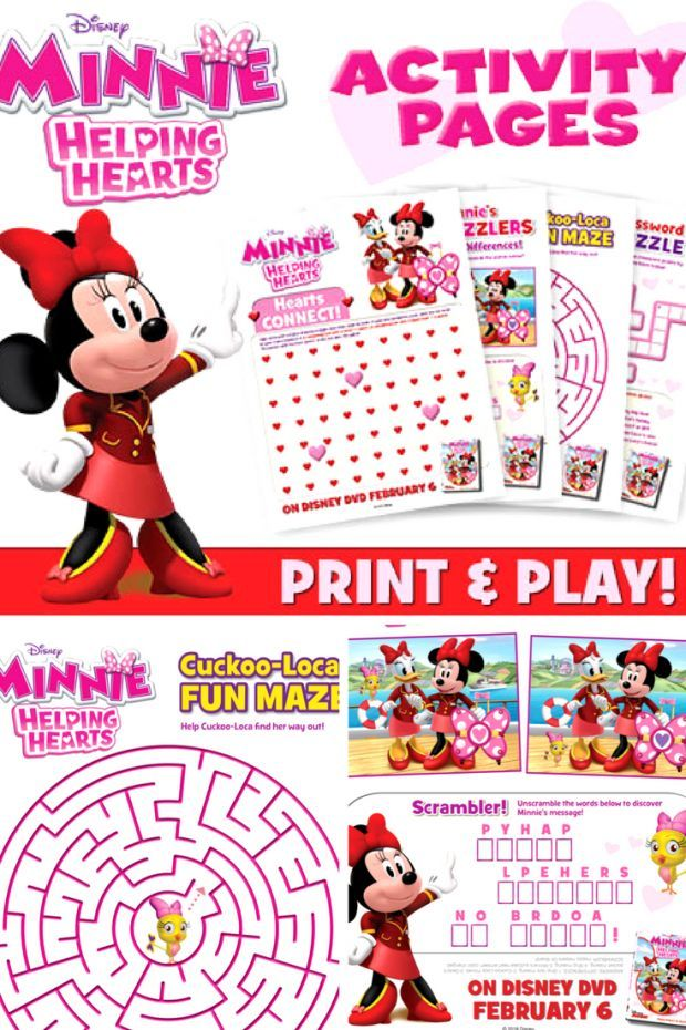 Minnie Mouse Bow And Activity Printables Disney Activities