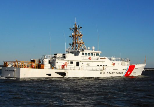"""Bollinger Shipyards Inc.delivered KATHLEEN MOORE,9th Fast Response Cutter to US Coast Guard.154 foot patrol craft 9th vessel in Coast Guard's Sentinel-class FRC program.Bollinger used proven,in-service parent craft design based on Damen Stan Patrol Boat 4708.Flank speed of 28knots,state of art command,control,comms & computer technology,& stern launch system for vessels 26foot cutter boat.FRC has been described as an operational """"game changer,"""" by senior Coast Guard officials."""