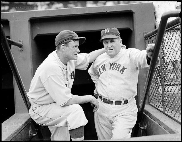 1937 - Boston Red Sox manager Joe Cronin and New York Yankee manager Joe McCarthy at Fenway Park.