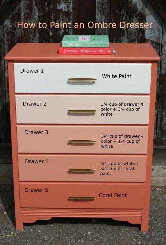 DIY Furniture : DIY Paint an Ombre Dresser