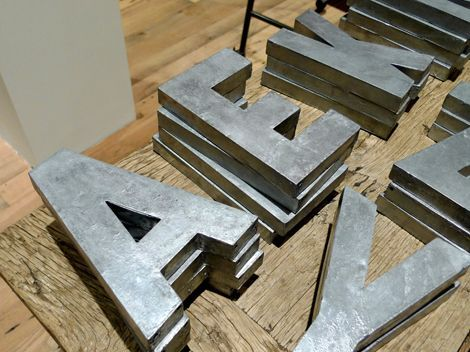 DIY:  Hobby store letters and spray paint - that's all you need to replicate the Anthropologie letters. Very easy DIY on the link.