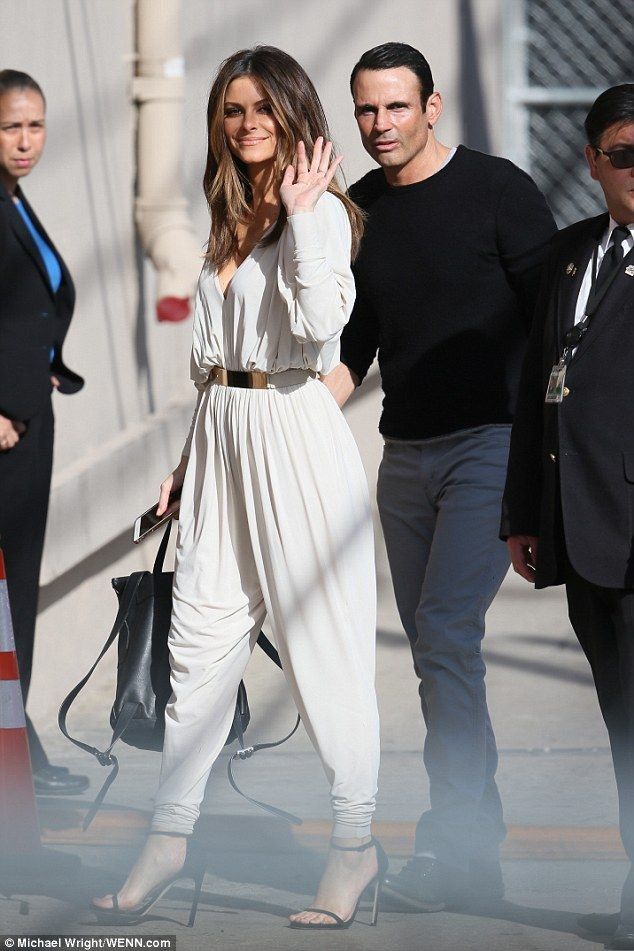 Bling: Maria Menounos flaunted her brand new engagement ring en route to Jimmy Kimmel with...