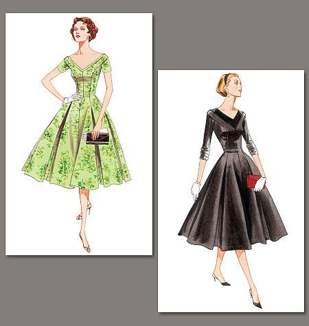 V2903 Misses'/Misses' Petite Dress | Average | Vintage 1950s