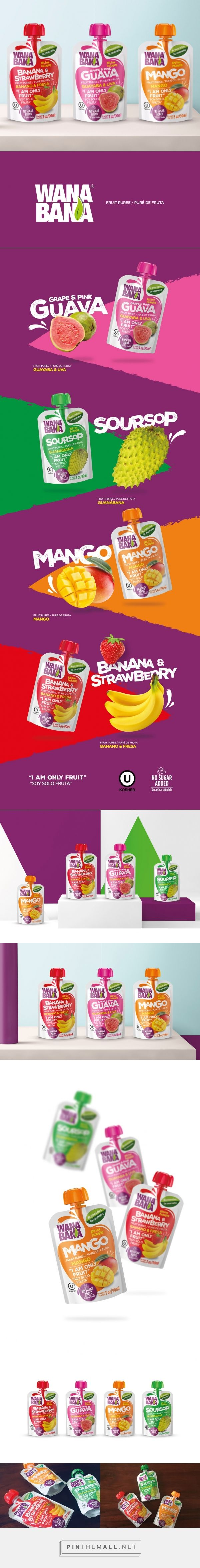 Wanabana Fruit Puree packaging design by Gworkshop | Packaging Design Studio - http://www.packagingoftheworld.com/2017/11/wanabana-fruit-puree.html