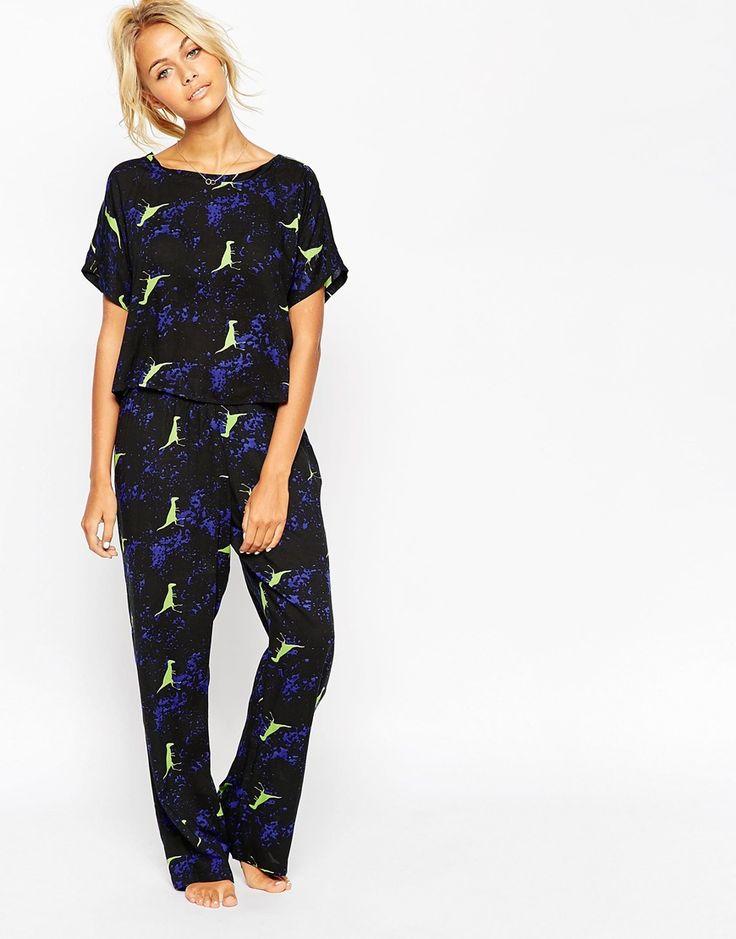Image 1 of ASOS Abstract Dinosaur Woven Tee & Pant Pajama Set