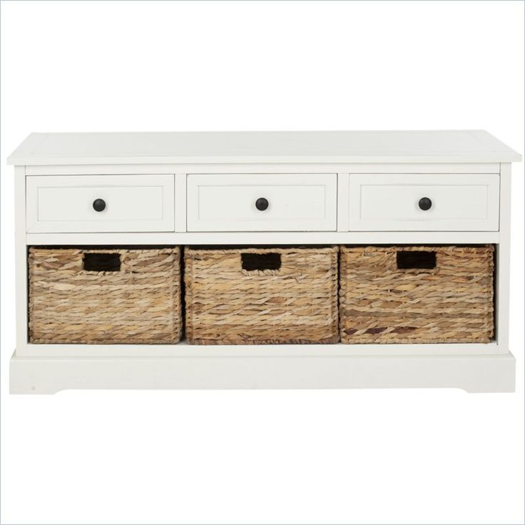 """$250  Safavieh Bud 3 Drawer Storage Unit in Cream - AMH5701C  Bud 3-drawer distressed cream storage unit features a contemporary style and functional design. Constructed with a sturdy wood frame with wicker baskets in a versatile cream hue, this will be a welcome addition to any room. Wicker baskets drawers gives ample storage with storage space of 4.7 in. H. x 12.2 in. W. x 12 in. Overall Products Dimensions: 19.7""""H x 42.1""""W x 15.4""""D"""