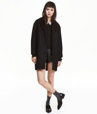 Wool-blend Bouclé Coat | Black | Ladies | H&M US