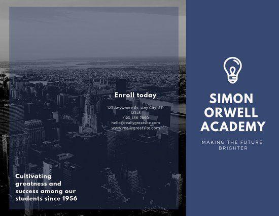 Indigo and White Photo and Logo School Tri-fold Brochure