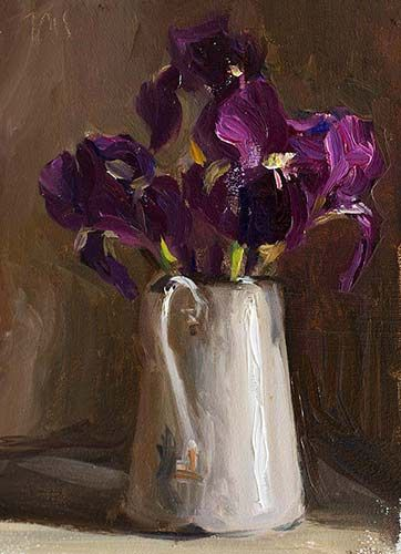 Julian Merrow-Smith: Today's painting,  Irises in an enamel jug