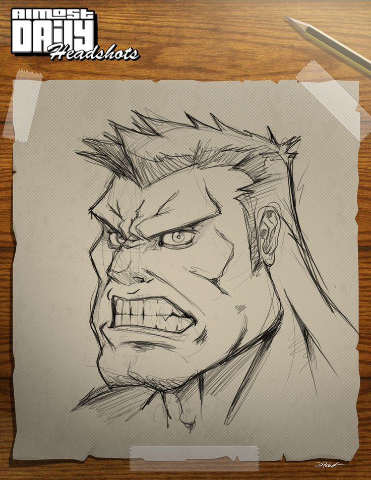 Almost Daily Sketch 2. Ths time I tryed to create the HULK. Hmmm looks more like the red one. What do you think?