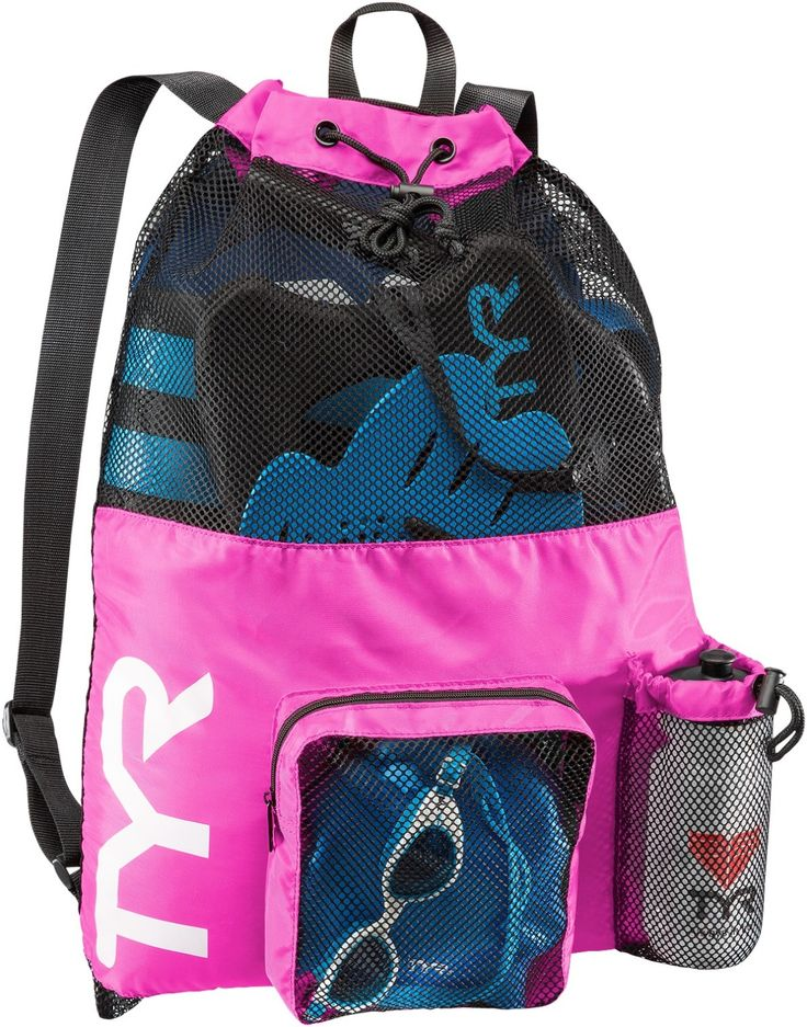 TYR Big Mesh Mummy Backpack: Pink swim mesh bag for your pool workout, open water swim, or water fitness cardio workout to carry swim training aids or pool toys like pull buoy, kickboard, swim fins, or swim hand paddles. Roomy enough to fit a bunch of swim gear, and after your swim gives a chance for wet items to start drying. Can be useful for adults with triathlon training, pool exercise, or water aerobics, kids and teens with swim practice or swim lessons, beginner swimmers, and more!