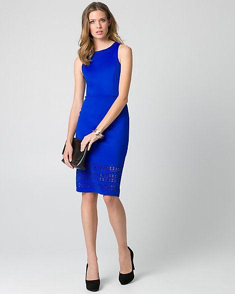 Laser+Cut+Scuba+Knit+Shift+Dress