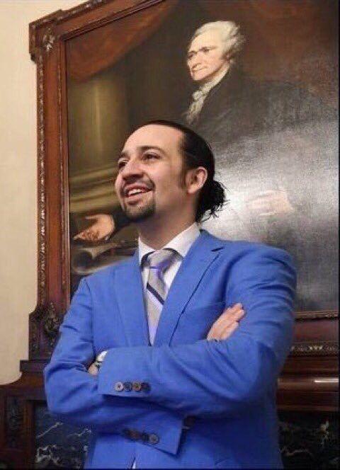 Lin Manuel Miranda with Alexander Hamilton