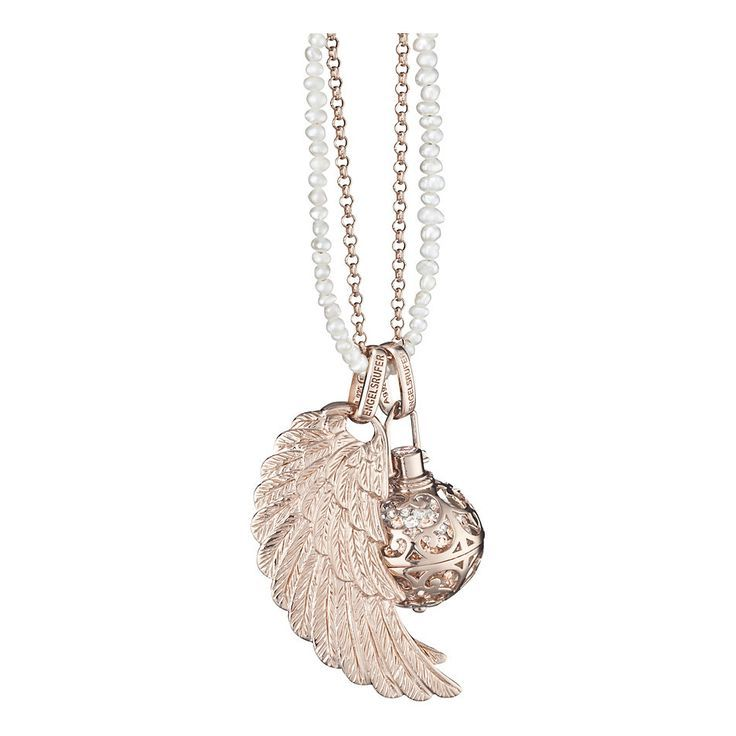 24mm (Large) Rose Plated Engelsrufer Silver Cage Pendant (R2199) with Crystal Soundball (R899) and 45mm (Large) Rose Plated Silver Angel Wing Pendant (R2599) on a 80cm Rose Plated Silver Anchor Chain (R2399) and a 80cm Shell Pearl necklace with Silver Rhodium Plated Clasp (2799).