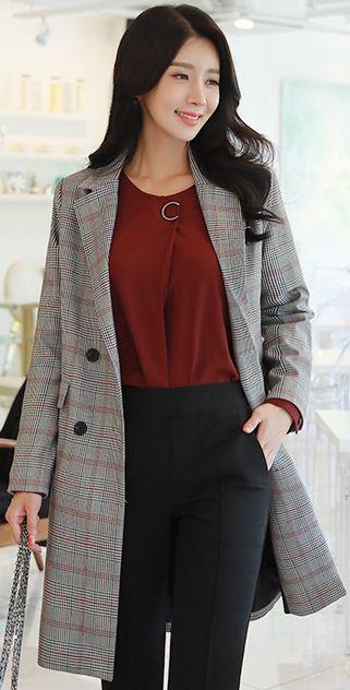 StyleOnme_Check Print Double-Breasted Long Jacket #gray #check #falltrend #koreanfashion #kstyle #kfashion #dailylook #seoul