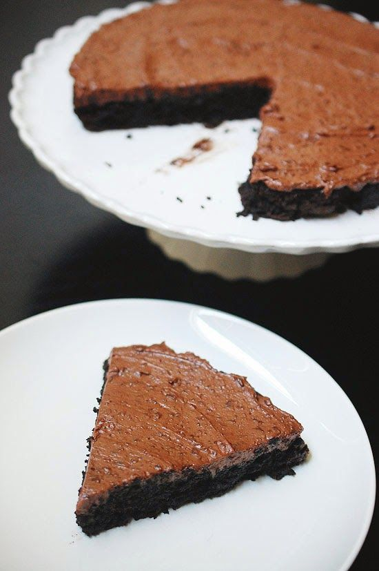Yogurt Cake With Chocolate Ganache Frosting Recipe — Dishmaps