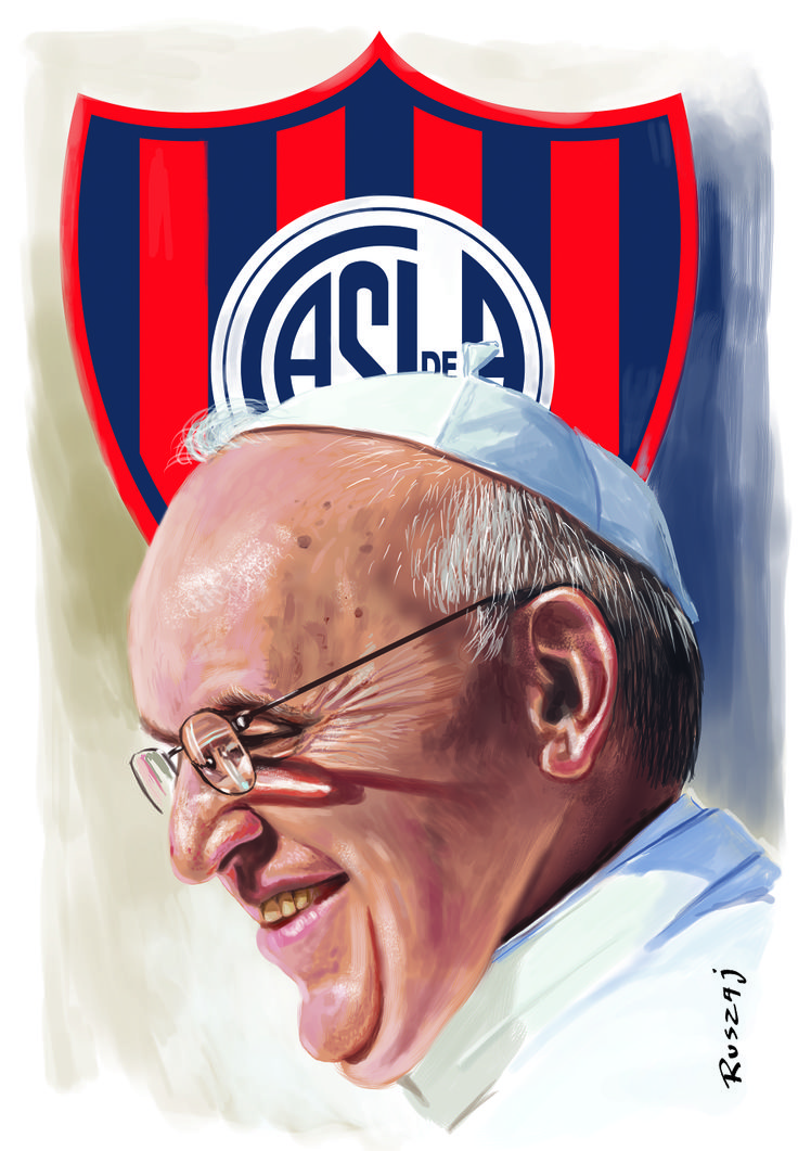 Pope Francisco Bergoglio and San Lorenzo de Almagro shield soccer team.