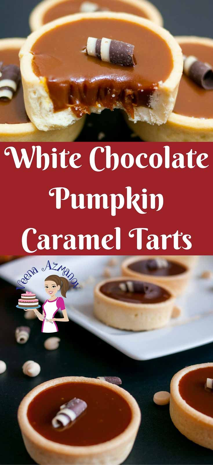 WHITE CHOCOLATE PUMPKIN CARAMEL TARTS  These white chocolate pumpkin caramel tarts are made with sweet caramel enriched with falls own pumpkin puree and pumpkin spice. They are simple easy and effortless. Weather you want to go semi homemade or baked from scratch these are an elegant way to entertain or dress a dessert table. #falldesserts #whitechocolate #pumpkin #tart #caramel #pumpkintart #chocolatetart #thanksgiving #fall #desserts