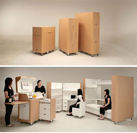 Fully modular furniture by Kenchikukagu, including a kitchen, office, and bedroom.