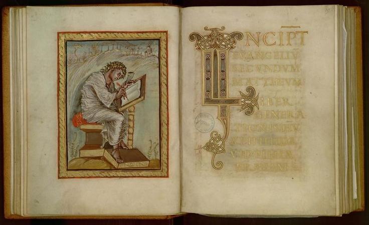 Évangiles d'Ebbon, saint Mathieu, folio 18v19, vers 830 ©Médiathèque d'Épernay