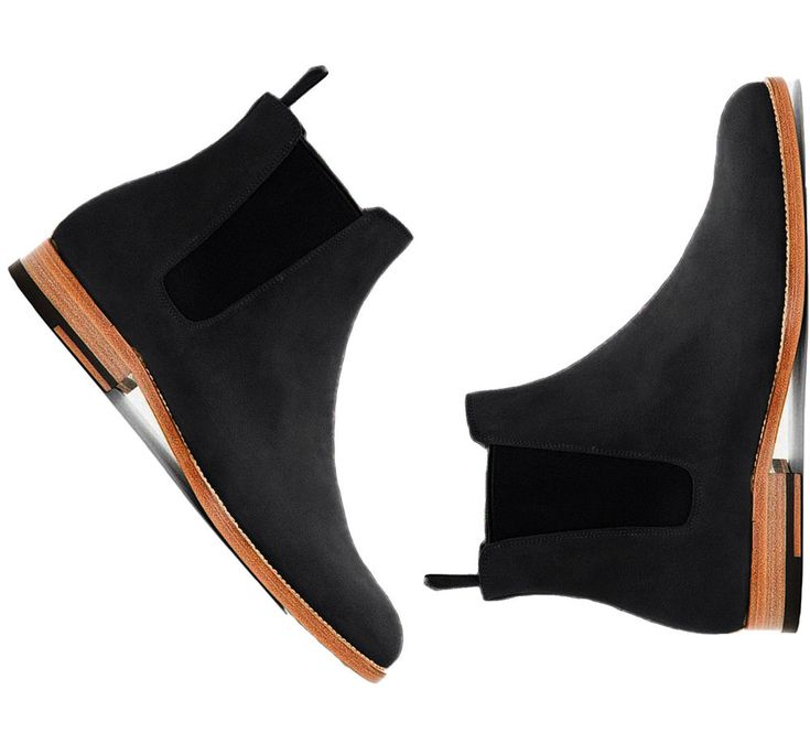 New Handmade Chelsea Black Chelsea Suede Leather Boots For Men's #Handmade #AnkleBoots