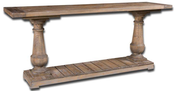 Как и все модели коллекции Stratford консоль Stratford великолепна в своей простоте. Прекрасная натуральная древесина пихты, серая отделка, четкие детали. Купив ее, Вы совсем не пожалеете.             Материал: Дерево.              Бренд: Uttermost.              Стили: Прованс и кантри.              Цвета: Коричневый.