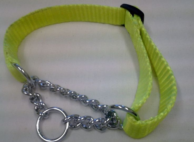 MARTINGALE COLLAR W CHAIN- SLIP OVER DESIGN - 25MM SUPERSOFT&STRONG YELLOW FLURO