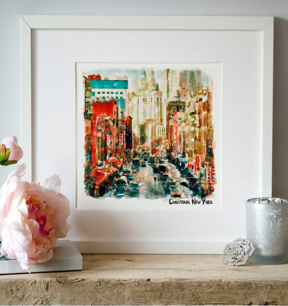 New York China Town Watercolor painting Winter Snow by Artsyndrome