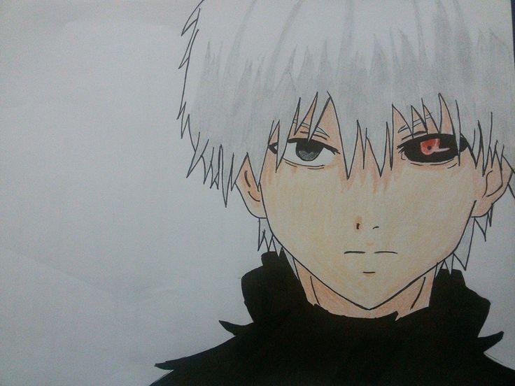 Hasil gambar untuk tokyo ghoul kaneki drawing