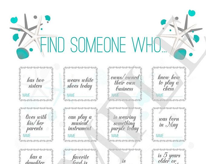 Wedding game ''find someone who..'', wedding icebreaker for guests, reception game, reception game for beach wedding, printable bingo