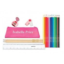 Pink Personalised Pencil Case, Pencils and Ruler Pack
