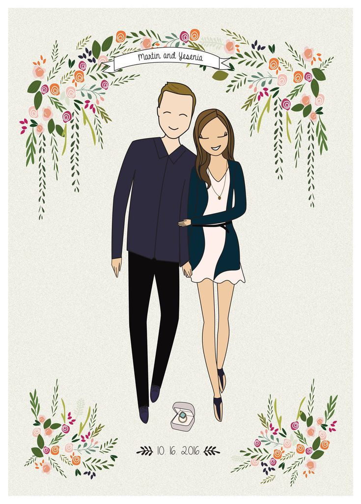 Custom portrait illustration, couple personalized sketch, wedding anniversary, couple drawing illustration, printable print wall art digital by BeMyPaperShop on Etsy