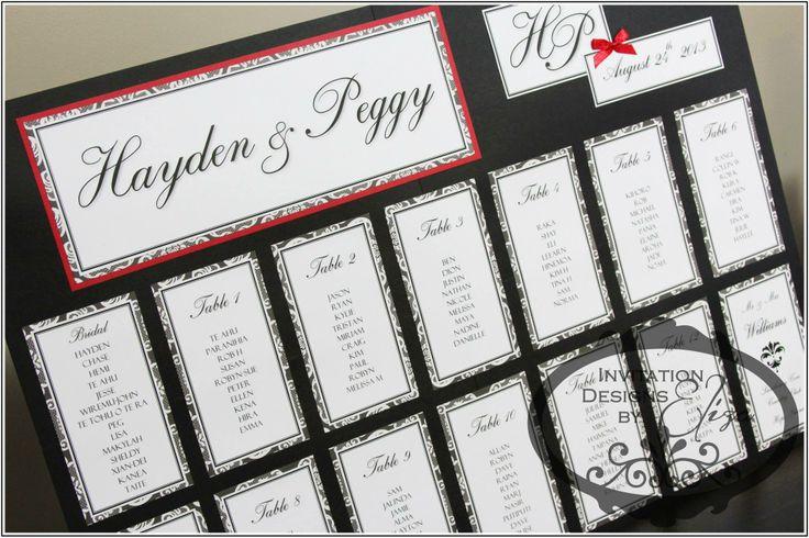 Seating Chart Designs  {Wedding} Black, White & Red Theme https://www.facebook.com/InvitationDesignsByEliza