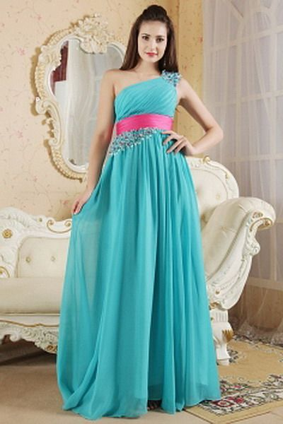 A-Line One-shoulder Chiffon Evening Gown - Order Link: http://www.thebridalgowns.com/a-line-one-shoulder-chiffon-evening-gown-tbg5046 - SILHOUETTE: A-Line; SLEEVE: Sleeveless; LENGTH: Sweep/Brush Train; FABRIC: Chiffon; EMBELLISHMENTS: Sash , Crystal , Ruched - Price: 199USD