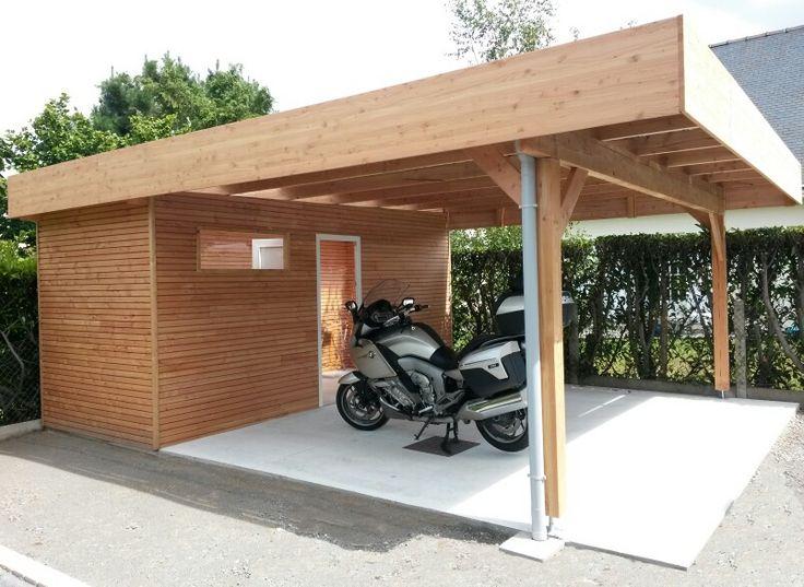 Les 25 meilleures id es concernant carport adoss sur - Carport avec abri de jardin integre ...