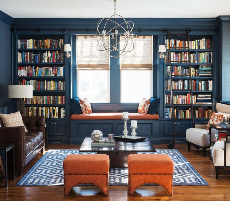 Home Library with Window Seat-01-1 Kindesign