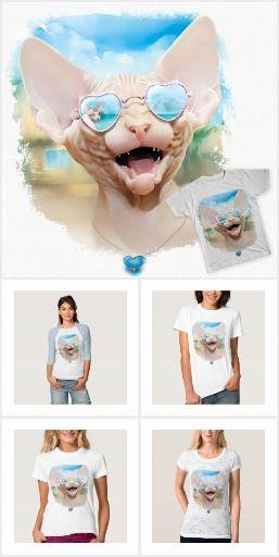 Vacation dating| (Sphinx in sunglasses) Sphinx. Футболки, майки и другая яркая одежда, обувь, аксессуары с  авторским портретом кошки породы Канадский Сфинкс. Вы можете купить одежду с этим рисунком, Такие вещи носить приятно, они обязательно поднимут настроение вам и окружающим. или с другими дизайнерскими принтами, а так же заказать портрет (нарисовать ) своего питомца. Для связи layanna@layanna.ru