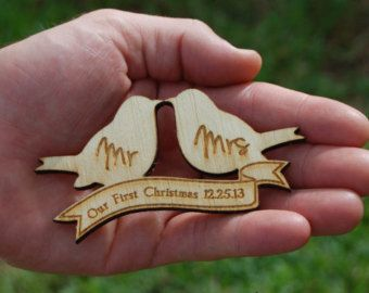 Our First Christmas Ornament Mr and Mrs Wedding Ornament Personalized Wedding Gift Ornament Wood Love Birds