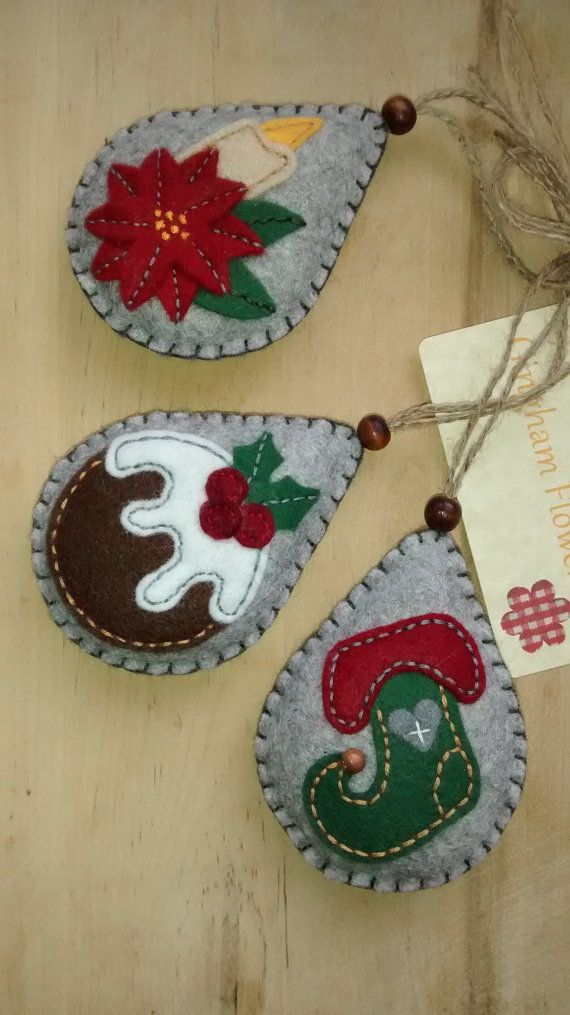These three felt ornaments would make an ideal festive tree decoration.  Each one is designed and handmade by me in soft felt, lightly filled and