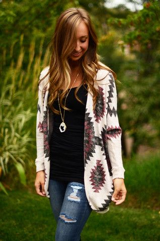 I love Aztec Cardigans, really needing more neutral colored tops/undershirts as layering pieces.