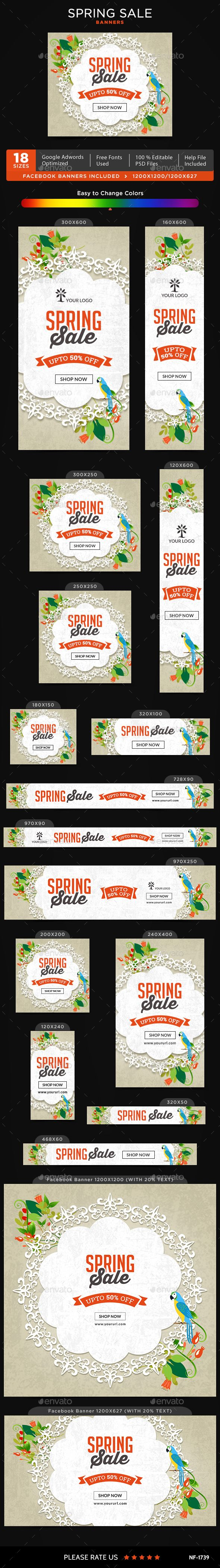 Spring Sale Banners - #Banners & Ads #Web Elements Download here: https://graphicriver.net/item/spring-sale-banners/19537980?ref=alena994