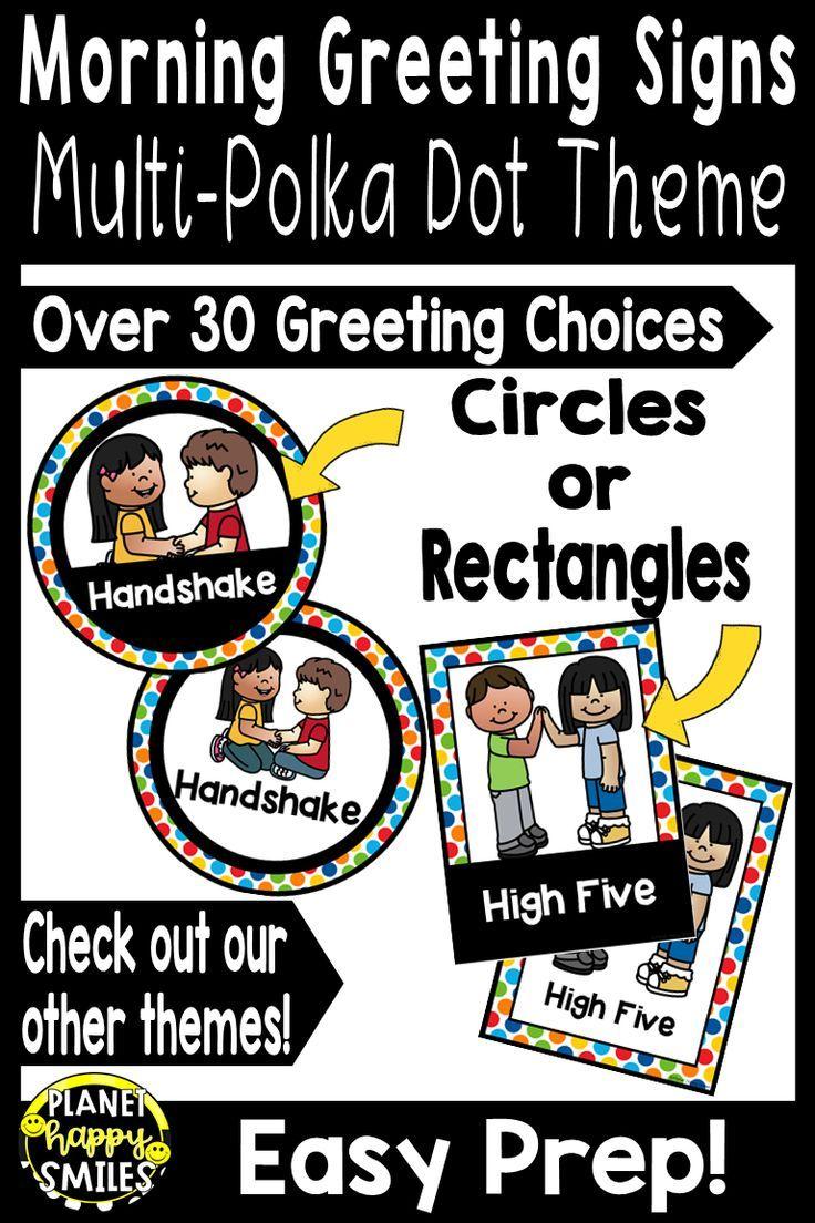 30+ Morning Greeting Choices Multi-Colored Polka Dot Theme