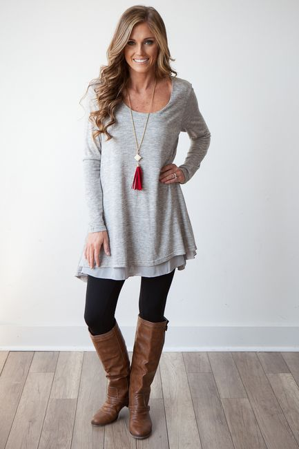 "Scoop neck tunic with chiffon layer under knit on front. Measures 32"" from shoulder to bottom hem. Sleeves measure 25 1/2"". Cotton/polyester blend. Fits true to size. Free shipping on US orders $50 & up!"